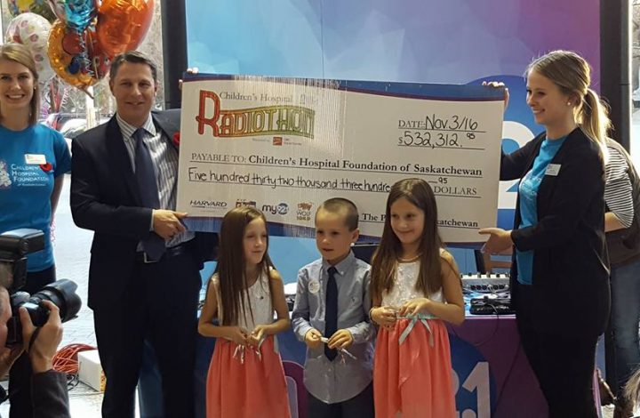 Final cheque presentation at the 14th Annual Children's Hospital Radiothon